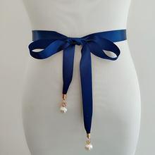 Kyunovia/стильное платье на выпускной с жемчужной подвеской, ремень высокого качества, двусторонний сатиновый пояс с жемчугом, тонкий пояс для ...(Китай)