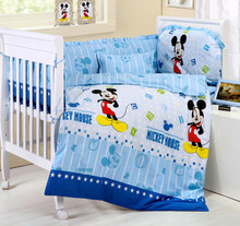 Promotion 10PCS Mickey Mouse baby girls bedding sets cot quilt bed sheet baby care bumpers matress