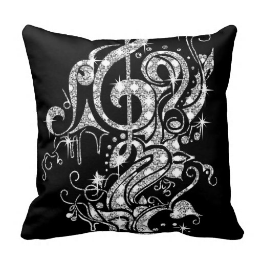 Special Diamond Bling Music Note Design On Classy Black Pillow Case (Size: 20