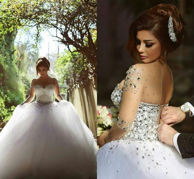 Wedding Dress 2015 Vestido De Noiva Long Sleeve Bridal Gown Rhinestones Pearls Crystals Ball Gown Robe