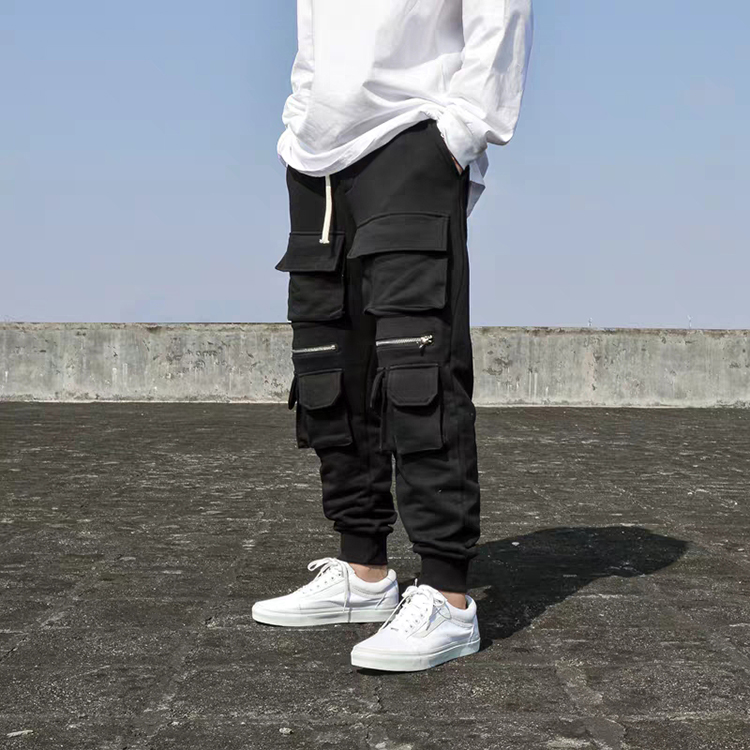 Новые модные мужские черные комбинезоны с несколькими карманами на молнии повседневные хлопковые тактические штаны-карго для бега