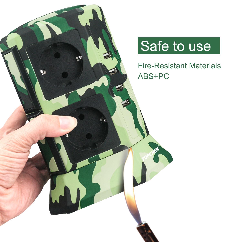 TOPEREK new camouflage color tower socket,USB power strip socket with Children safe door