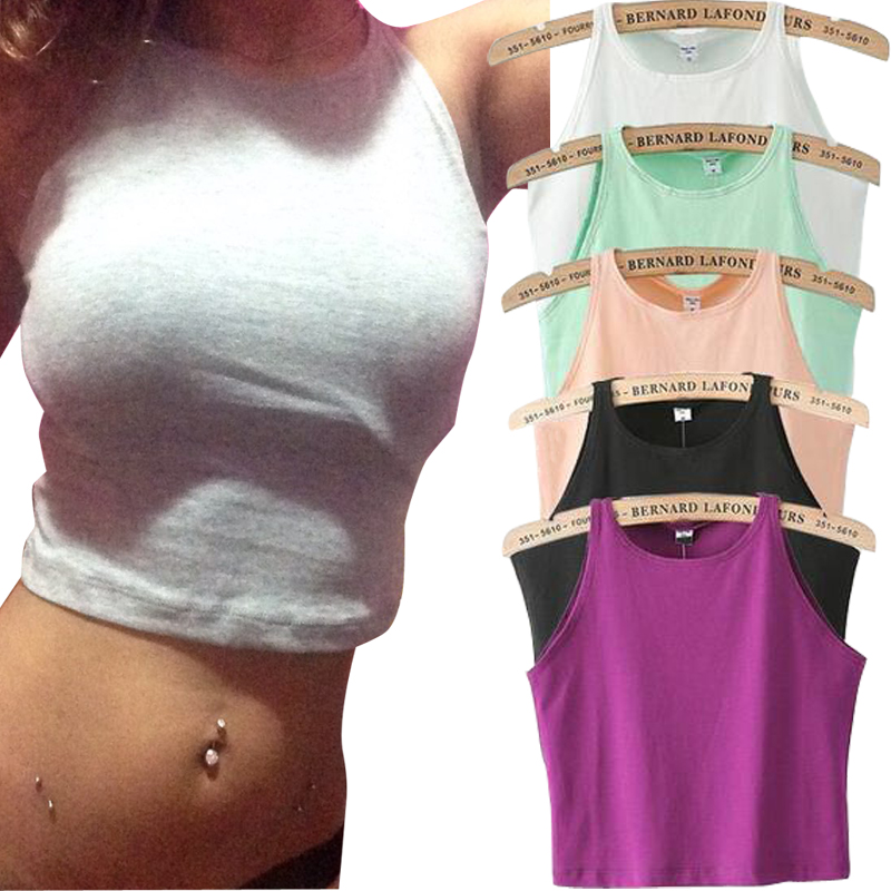 6 Colors Fitness Skinny Crop Top 2015 New Women Tight Bustier Crop Top Skinny T Shirt