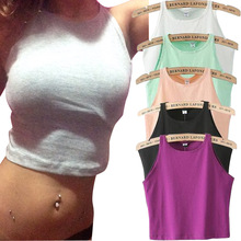 6 Colors 2015 New Women Tight Crop Top Skinny O-Neck T-Shirt Belly Sports Dance Tops Woman's Cropped Top Short Vest Tank Tops