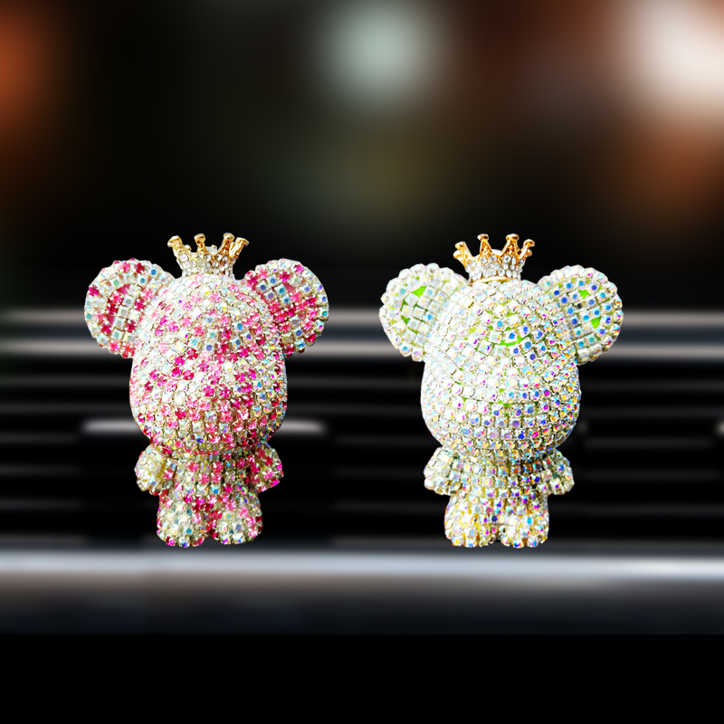 2019New Lovely Bears Rhinestone Car Air Freshener Eco-friendly perfume car air 4ML liquid vent clip diffuser Car perfume Comic