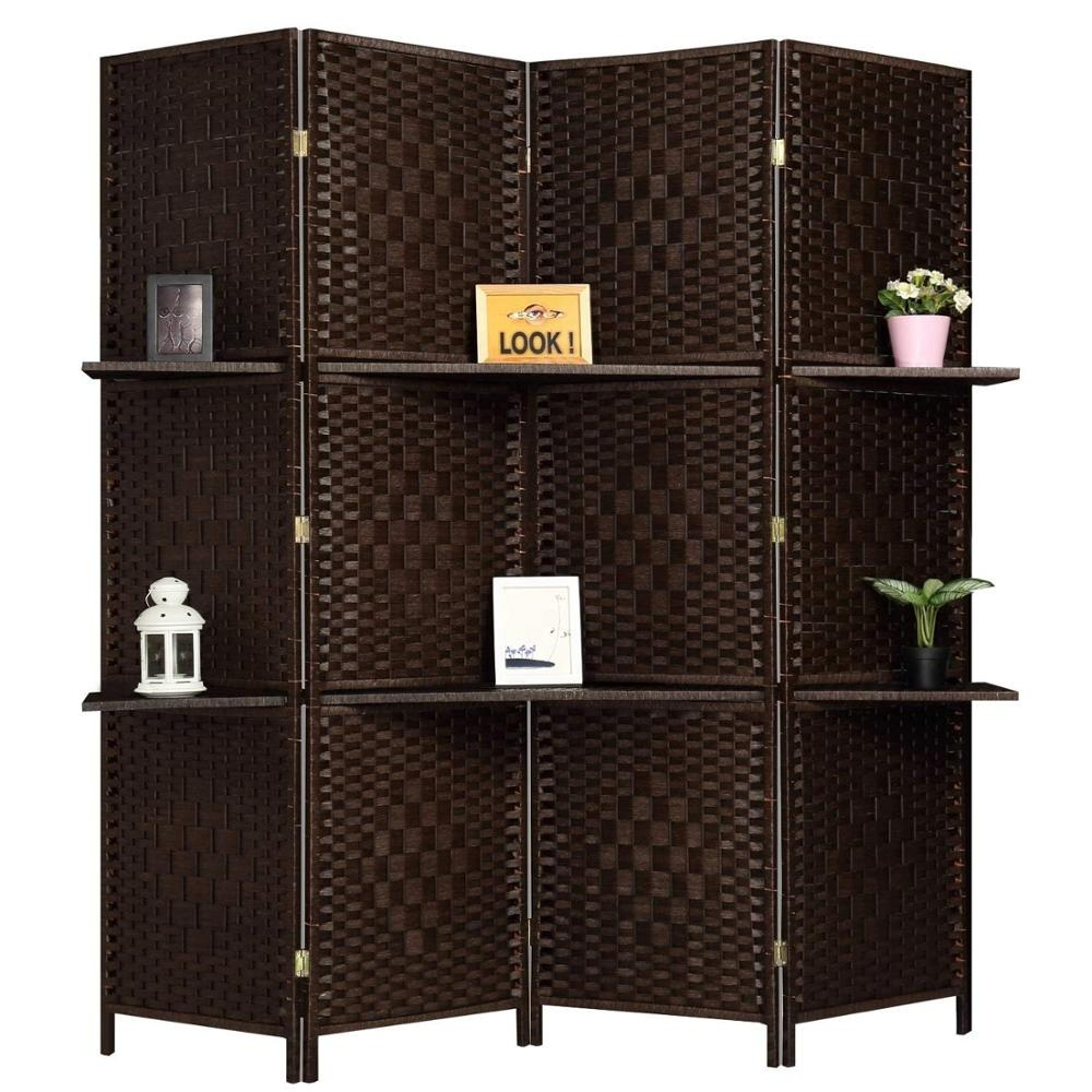 6 ft Tall Diamond Room Divider Folding Privacy Screens Partition Wall with 2 Display Shelves