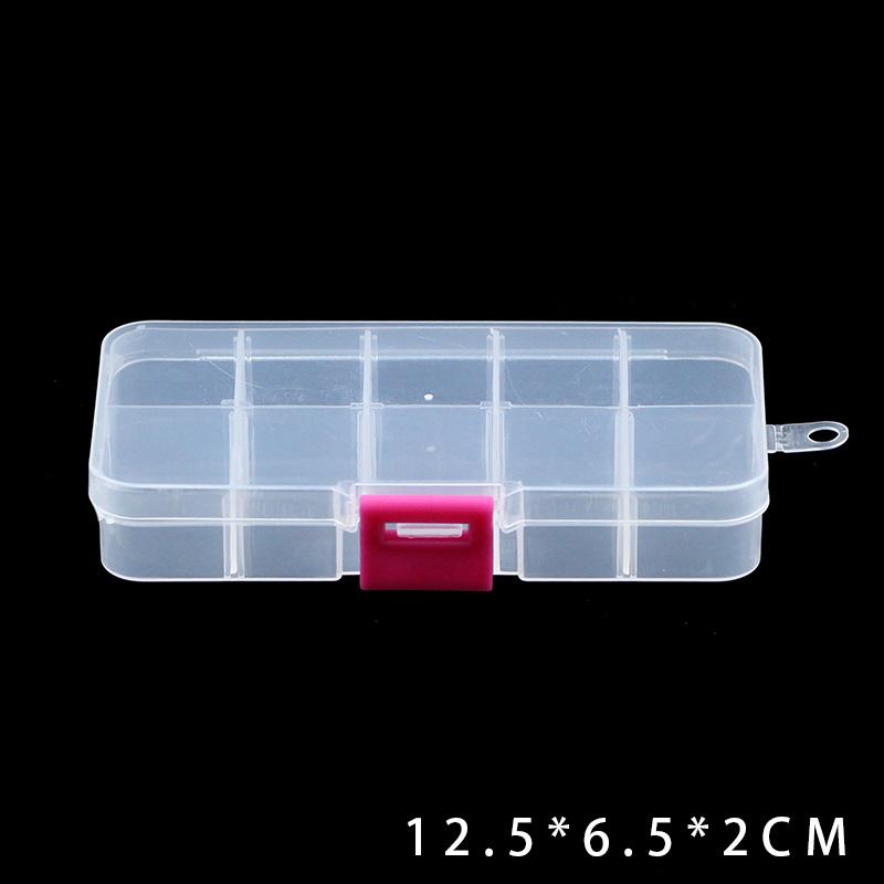 JHNBY Регулируемый 10 слотов прозрачный Отсек пластиковый ящик для хранения ювелирных изделий контейнер для бисера серьги кольца подарочные к...()