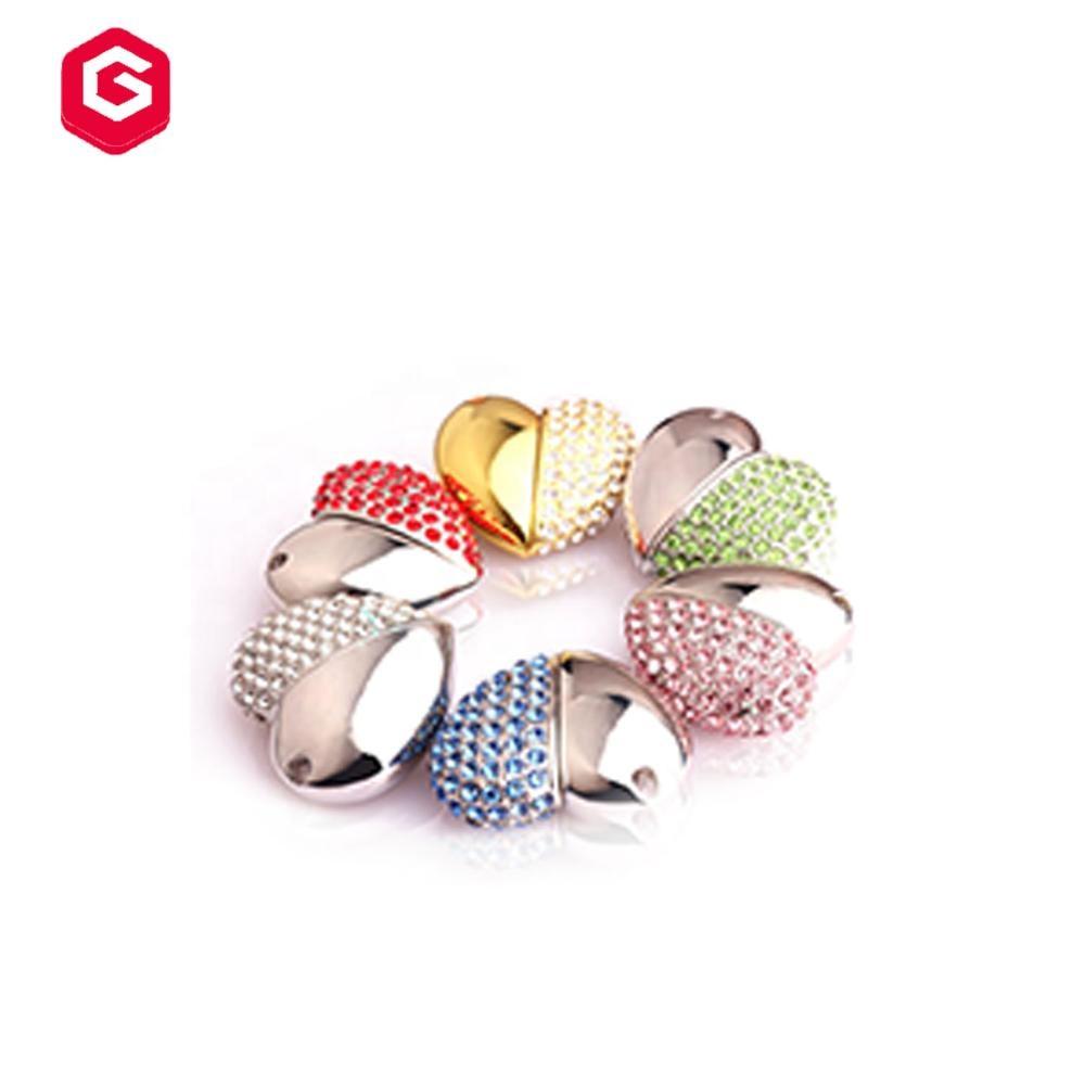 Jewelry Heart Shape USB 2.0 Flash Drive for Girls Pen Drive Diamond Necklace Memory Stick Cute Thumb Drive Pendant - USBSKY   USBSKY.NET