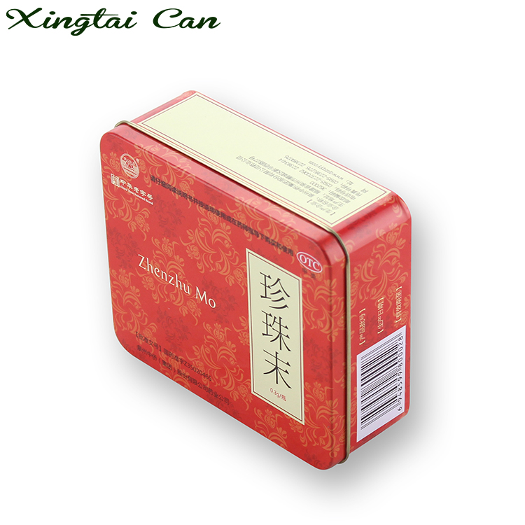 Medicine Packing Rectangle metal Tin Can 100g