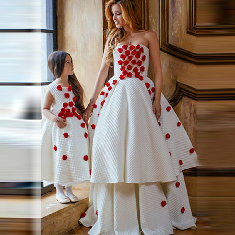 2016 couture mother daughter matching dresses baby girl party dress with red flowers tiered. Black Bedroom Furniture Sets. Home Design Ideas