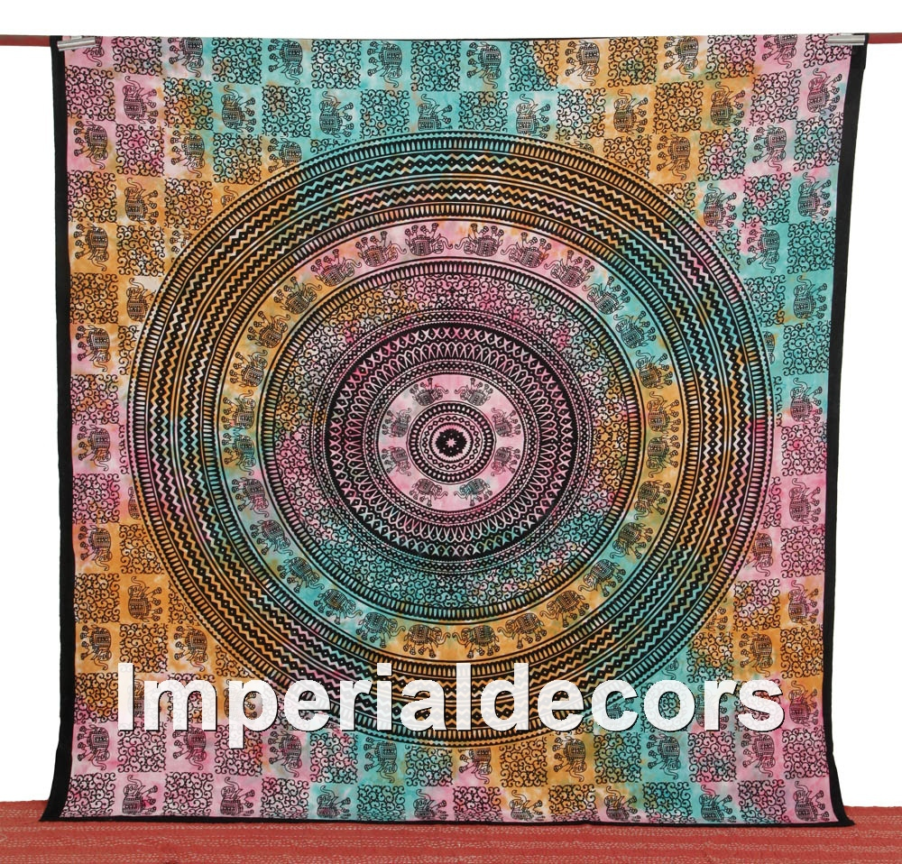 Bohemian Indian Tapestry, Mandala Hippie Wall Hanging, Psychedelic Bedspread (QUEEN Size,100% Premium Quality) Modern Home Decor