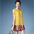 2016 Fold Loose Dress Pleated Dress Round Neck Short Sleeve Dress National Wind Commute Dress