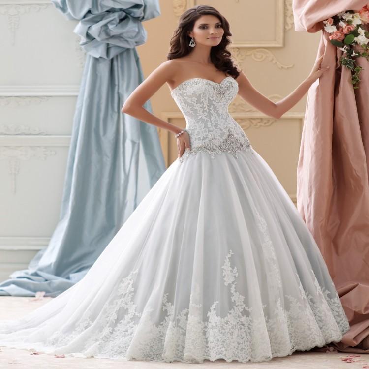 David S Bridal Plus Size Wedding Gowns: White Blue Lace David Tutera Wedding Dress Plus Size