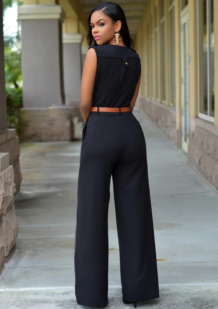 a46ba5072b7f 2016 New Loose Sexy European American brands Jumpsuit Ladies Slim V neck  Pocket Sleeveless Women full Length jumpsuit belts