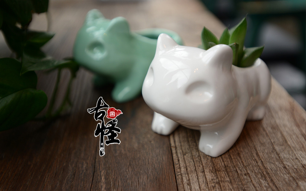 Kawaii Pokemon Ceramic Flowerpot Bulbasaur Planter Cute White / Green Succulent Plants Flower Pot with Hole Cute Dropshipping