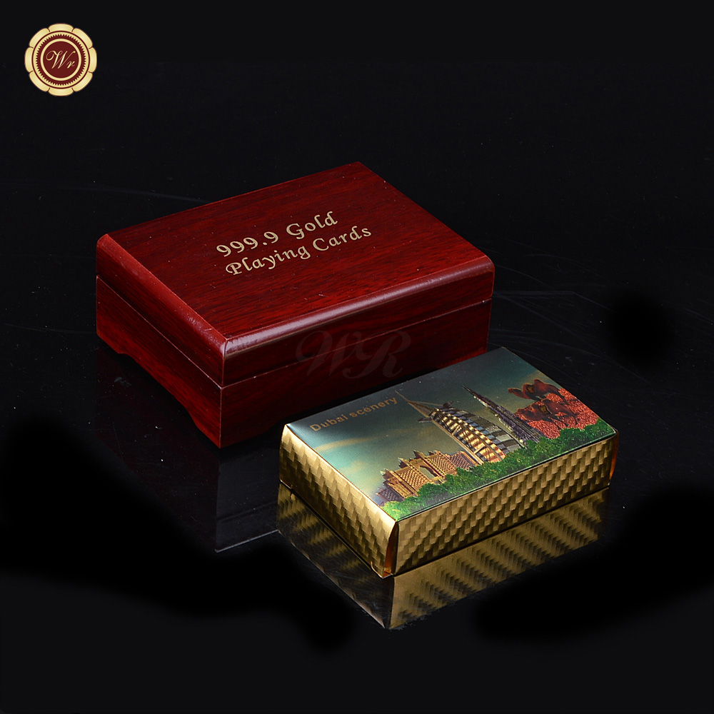 Wr Waterproof Luxury 24k Gold Foil Plated Poker Dubai Scenery Premium Plastic Board Games Playing Cards With Wooden Gift Box Buy 24k Gold Poker Card Gold Plated Playing Cards Color Card For Fabric