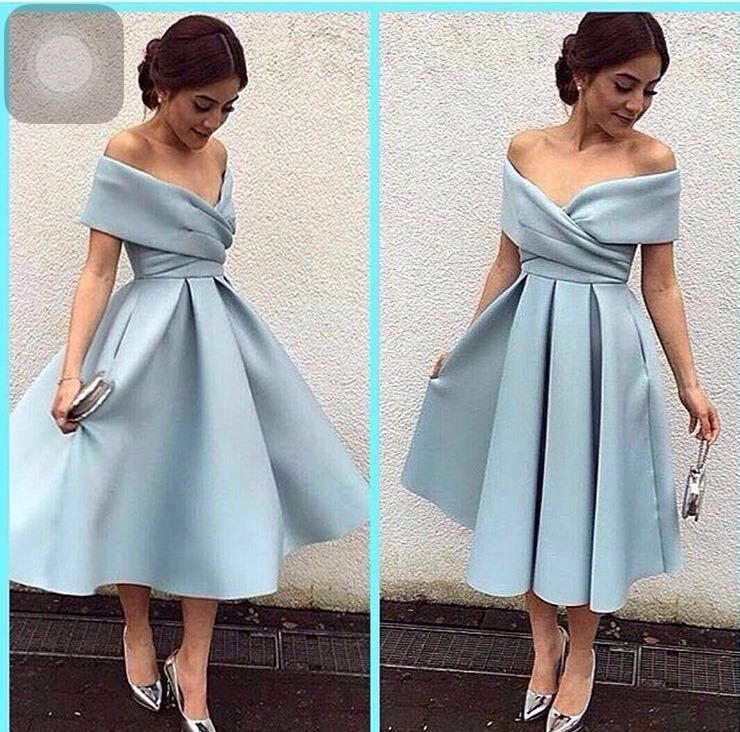Natural Simple Elegant 2018 Blue Bridesmaid Dresses With: Tea Length Elegant Prom Dresses 2016 Sweetheart Off The