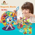 58PCS Regular Enlighten Bricks Educational Magnetic Designer Toy Square Triangle DIY Building Blocks Bricks Toys for
