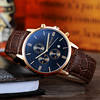 Rose gold case+ blue dial+brown band