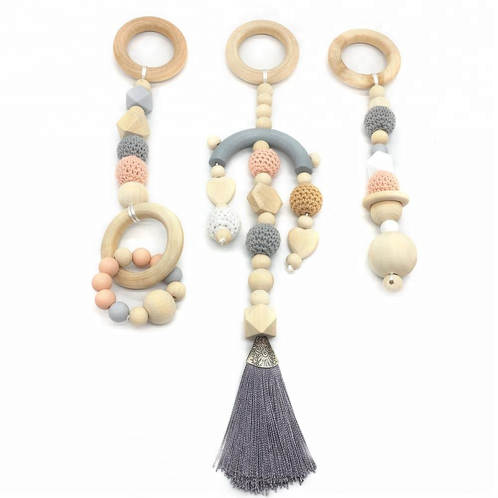 Boho Tassel Silicone Teething Beads Wooden Ring Baby Play Gym Toy Teethers Rattles Montessori Toys