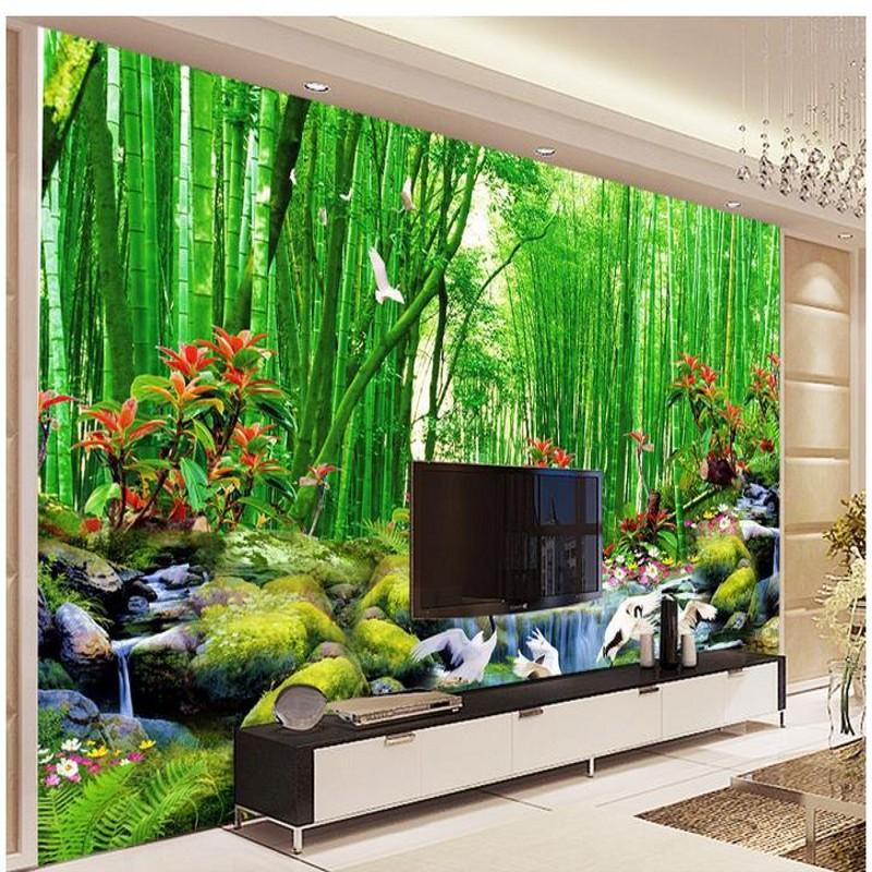 Living Room Wall Murals: HD Bamboo Murals TV Backdrop 3d Wall Murals Wallpaper For