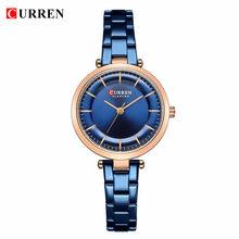 CURREN для женщин часы Роскошный металлический браслет наручные часы Стильный Модные кварцевые часы синий охватывающая деталь из нержавеющей...(Китай)