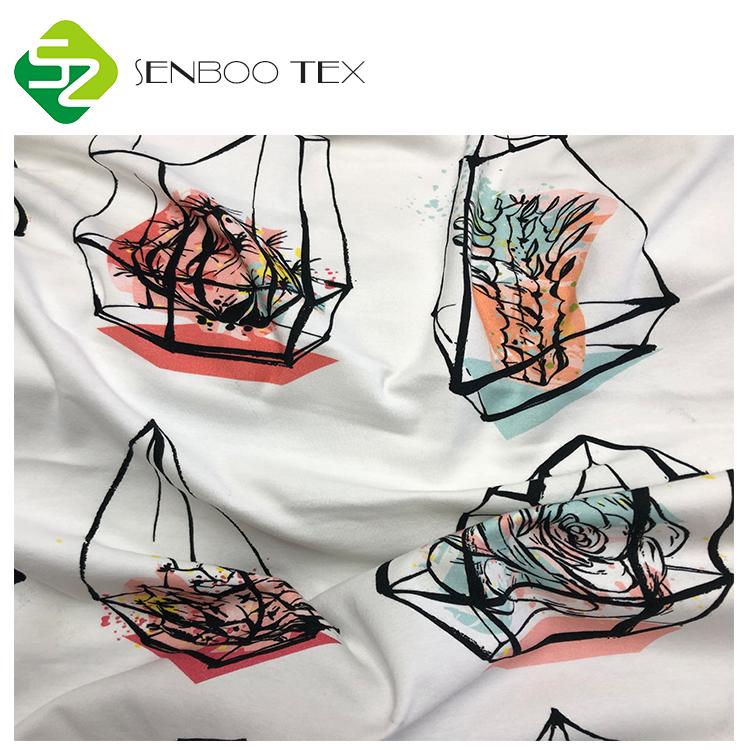 Трикотажная хлопчатобумажная ткань с цифровым принтом 40S 180gsm, трикотажная ткань с индивидуальным рисунком