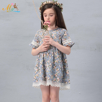 New design girls ruffled lace baby floral print dress short flared dresses with lace hem