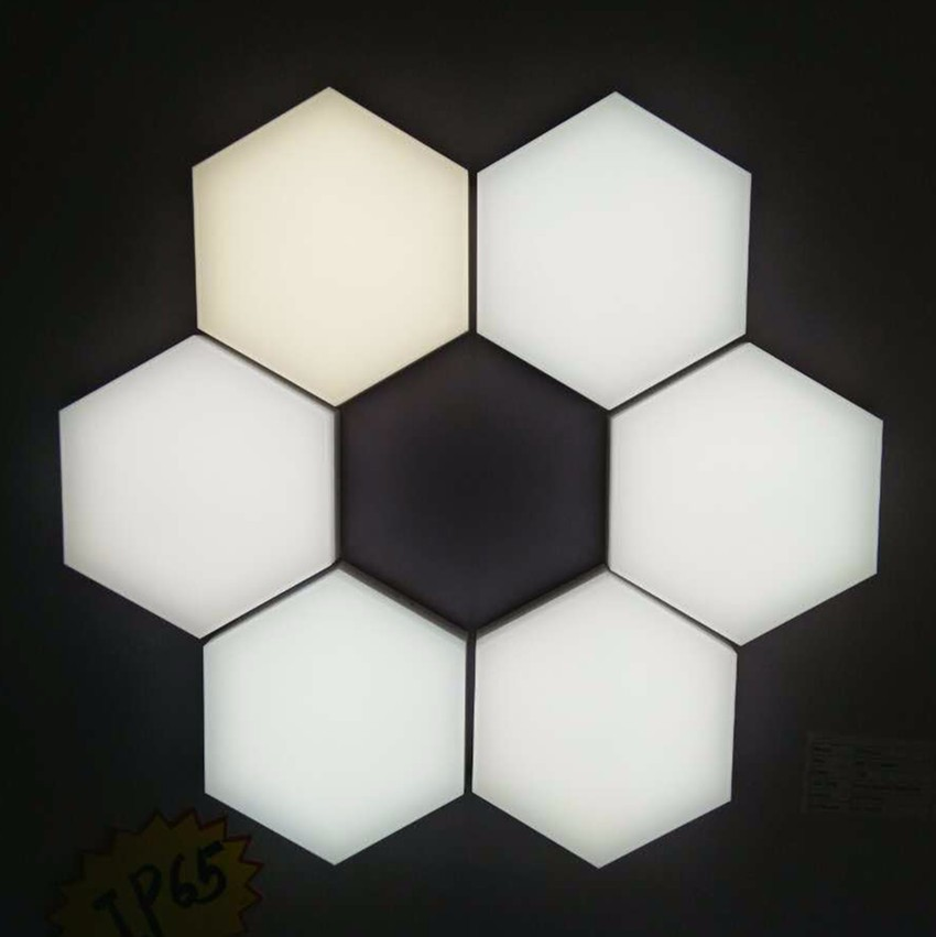 12W hexagon puzzle led ceiling panel lamp fire rated PC no fragile,no yellow durable 10years
