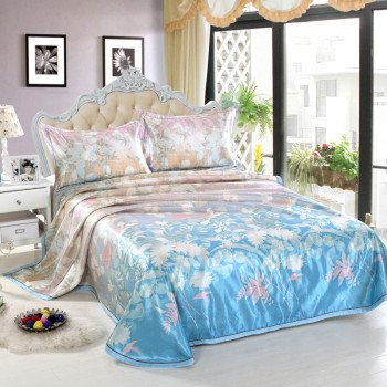 China style Silk Bed sheet Bed spread Flat sheet set 100% Polyester chinese home textile satin fabric
