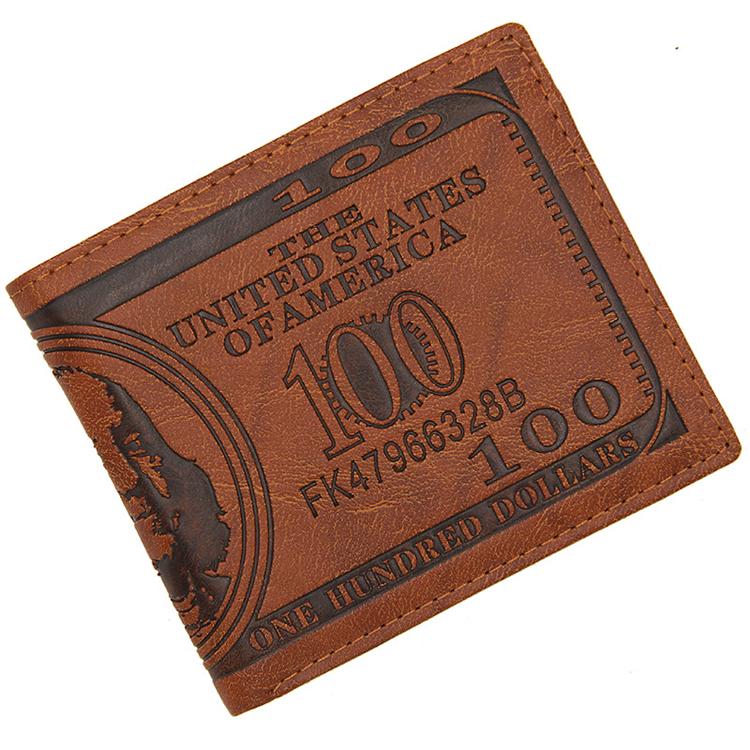 mini sport custom logo 100 dollar bill pvc coin batik leather male wallet