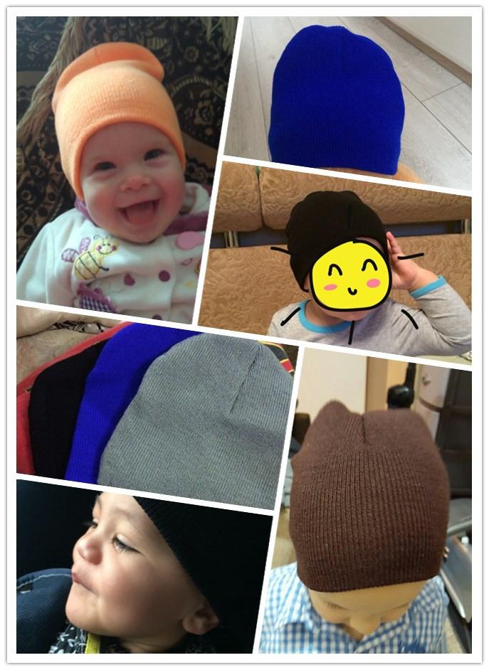 2015 Da Forma do Crochet Tricô Quente Chapéu Do Bebê Caps Crianças Puro Doce Cor Crianças Chapéus Meninos Meninas Beanie Chapéus Acessórios