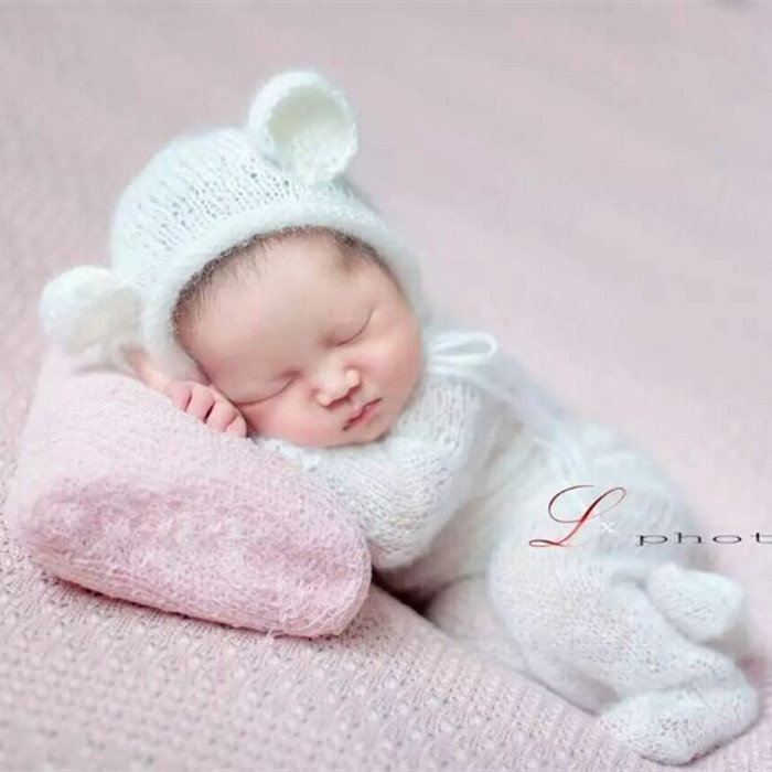 outfit Knit newborn bear outfit newborn photo prop angora romper footed romper prop newborn photo Footed pajamas newborn bear