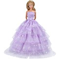 E TING Handmade Dolls Clothes Purple Wedding Dress Party Gown Outfit For Barbie Dolls S