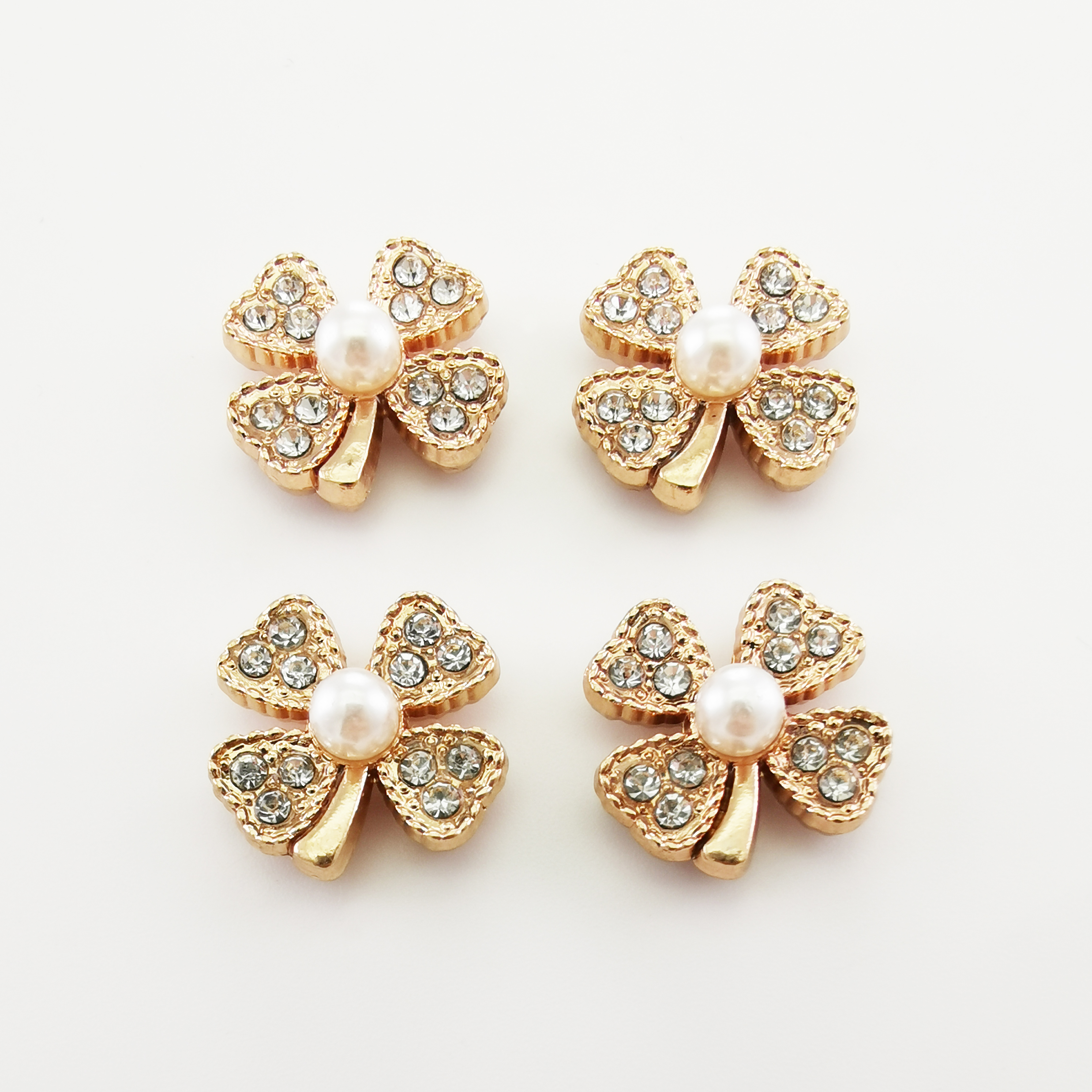 Metal  Flower  Button Rivet  Decoration with Stone and Pearl