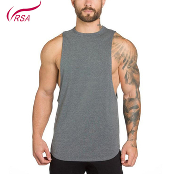 2019 Fashion Gym Men's 100% Cotton Blank Sports Simple Sleeveless Fitness Customized Logo T-shirt