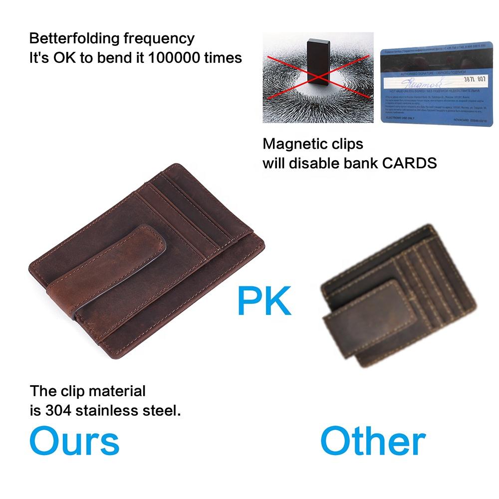 Custom Slim Front Pocket RFID Blocking with Super Strong Magnetic Money Clip Leather Card Holder For Men