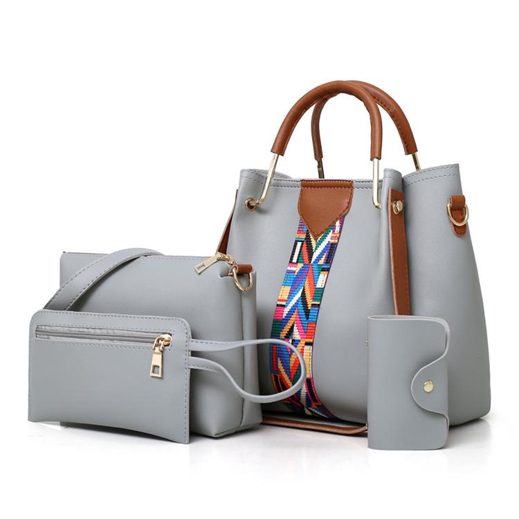 branded 2021 hot selling large capacity pu leather ladies bags women handbag set