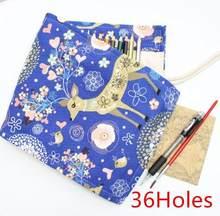 Чехол-карандаш с 36/48/72 отверстиями, школьный холщовый рулон, косметическая Кисть для макияжа, ручка для хранения, пенал, коробка, школьный пе...(Китай)