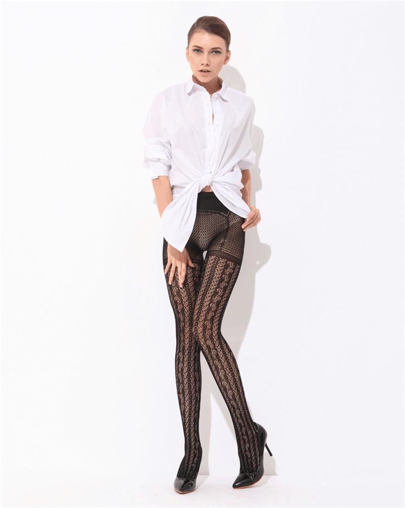 Мода женщин леди девушки черный секси шаблон ажурные чулки жаккардовые колготки колготки Collant