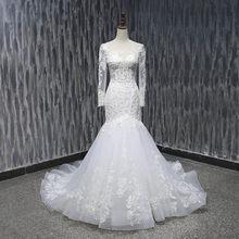 Женское свадебное платье в стиле бохо Lover Kiss Vestido De Noiva, кружевное платье с длинными рукавами и бусинами, свадебное платье(China)