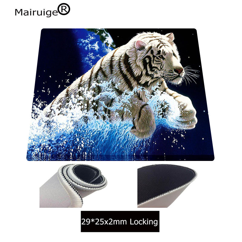 Mairuige Blue Background Cute White Tiger Mouse Pad Game Player Desktop Pad  High Quality Keyboard Speed Mouse Durable Mat