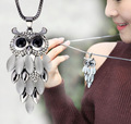 Top Grade Cat s Stone Rhinestone Owl Charm Pendant Necklace Fastness Long Chain Sweater Jewelry Women