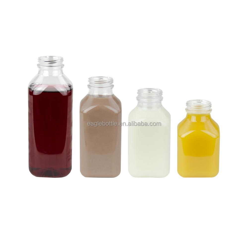Бутылка для сока холодного прессования 250 мл 300 мл 500 мл прозрачные стеклянные французские квадратные бутылки с пластиковой закручивающейся крышкой