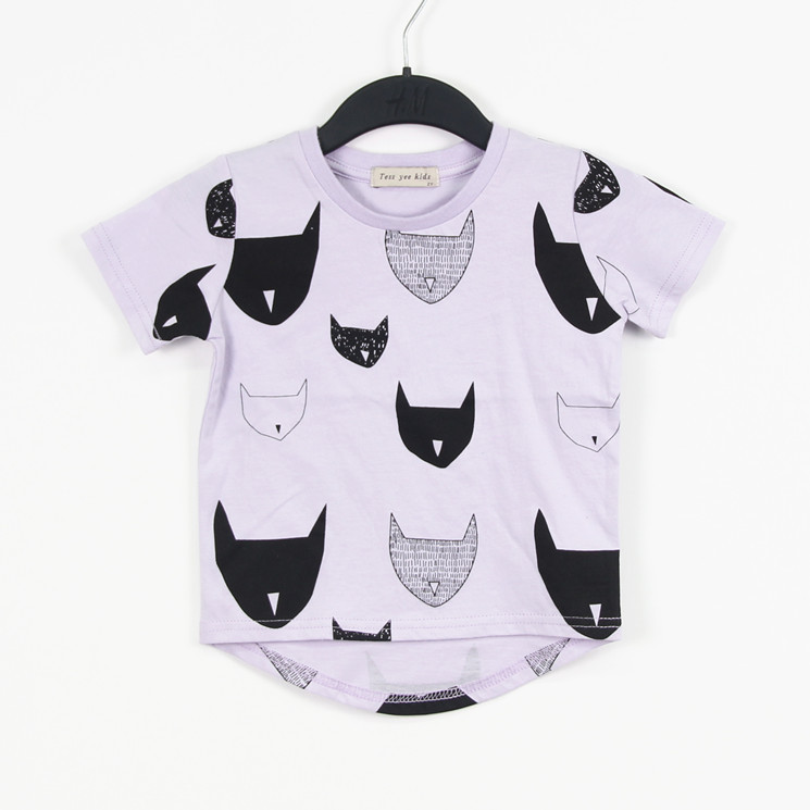 Цвет кассеты младенцы дети 100% хлопок джерси короткий рукав t рубашка с повторяющийся cat принт