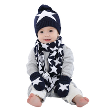 boys knitted hat font b scarf b font and glove set children new 2016 font b