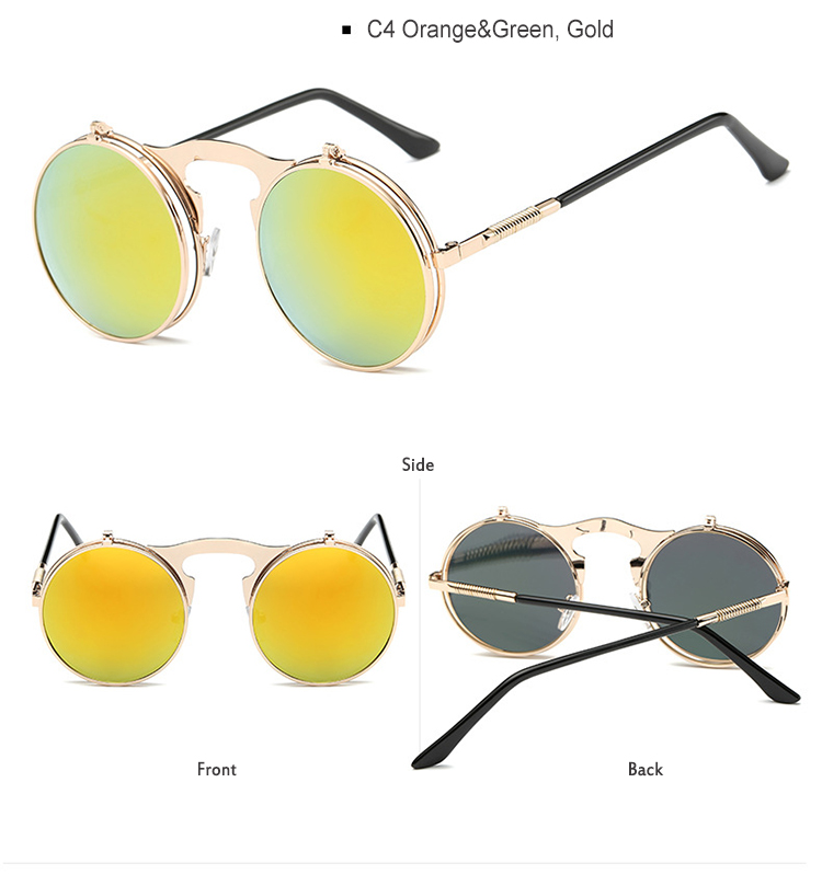 47ae6473878 Men Small Round Steampunk Sunglasses Metal Gothic Cool Flip Up Tinted Lens  Punk Sunglasses Vintage Retro Style Driving ...