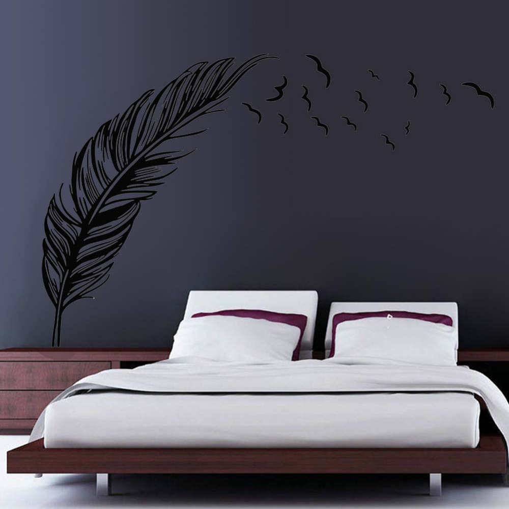 Flying Feather Wall Sticker Home Decor Ddesivo De Parede