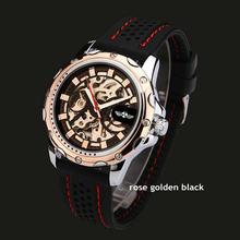 2016 часы Winner brand, мужские спортивные модные наручные часы-скелетоны, автоматические механические часы с резиновым ремешком, мужские часы(Китай)