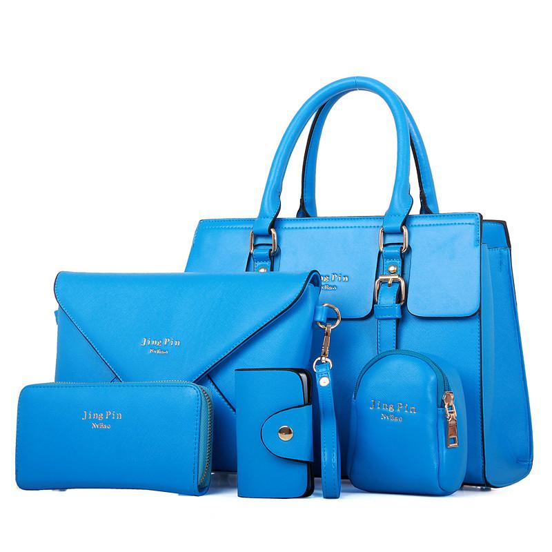 wholesale cheap 5 piece set pu leather Key case Cartera tote bag hand bags handbag with custom logo